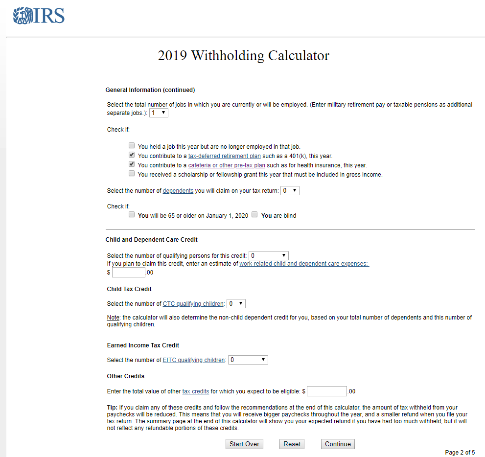 IRS Withholding Calculator will tell how many exemptions to claim.