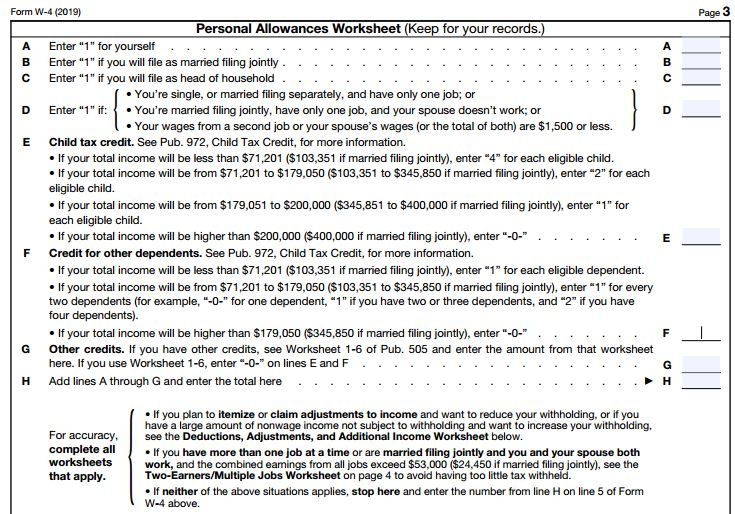 W-4 Personal Allowances worksheet.