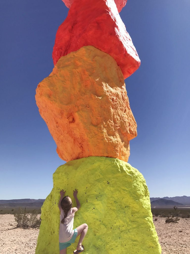 Great place to take kids off the strip in Las Vegas, family friendly tourist spot in Vegas, where to take kids in Vegas, Seven Magic Mountains in Las Vegas Desert, best place for families in vegas, Art display in Las Vegas
