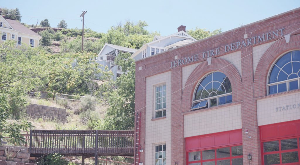 Jerome Fire Department with Buildings on the Cliff Overlooking Jerome Arizona