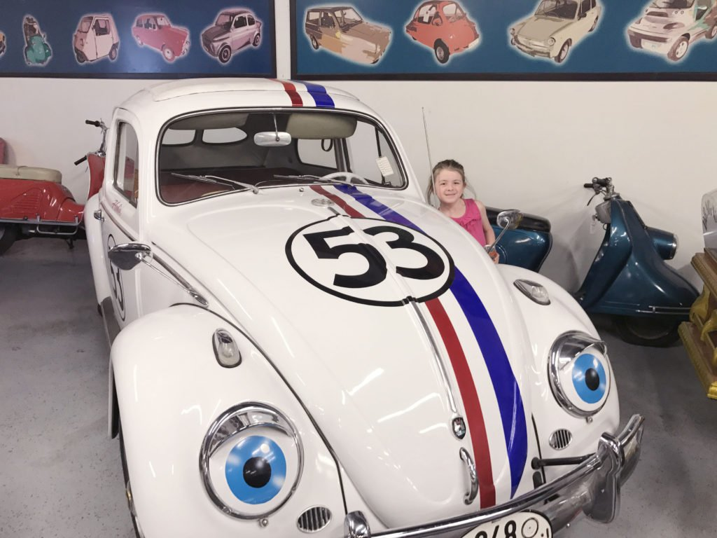 Great place to take kids off the strip in Las Vegas, family friendly tourist spot in Vegas, where to take kids in Vegas, Hollywood Car Museum, Herbie the Love Bug in person