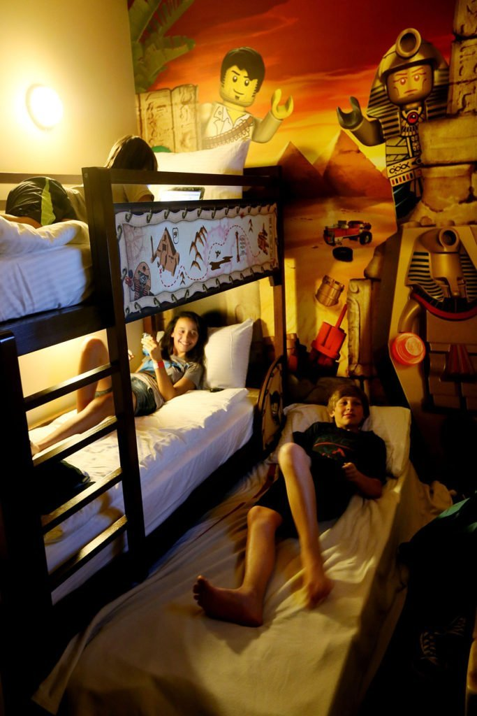 Legoland California Hotel adventure room triple bunk beds perfect for 3 kids.