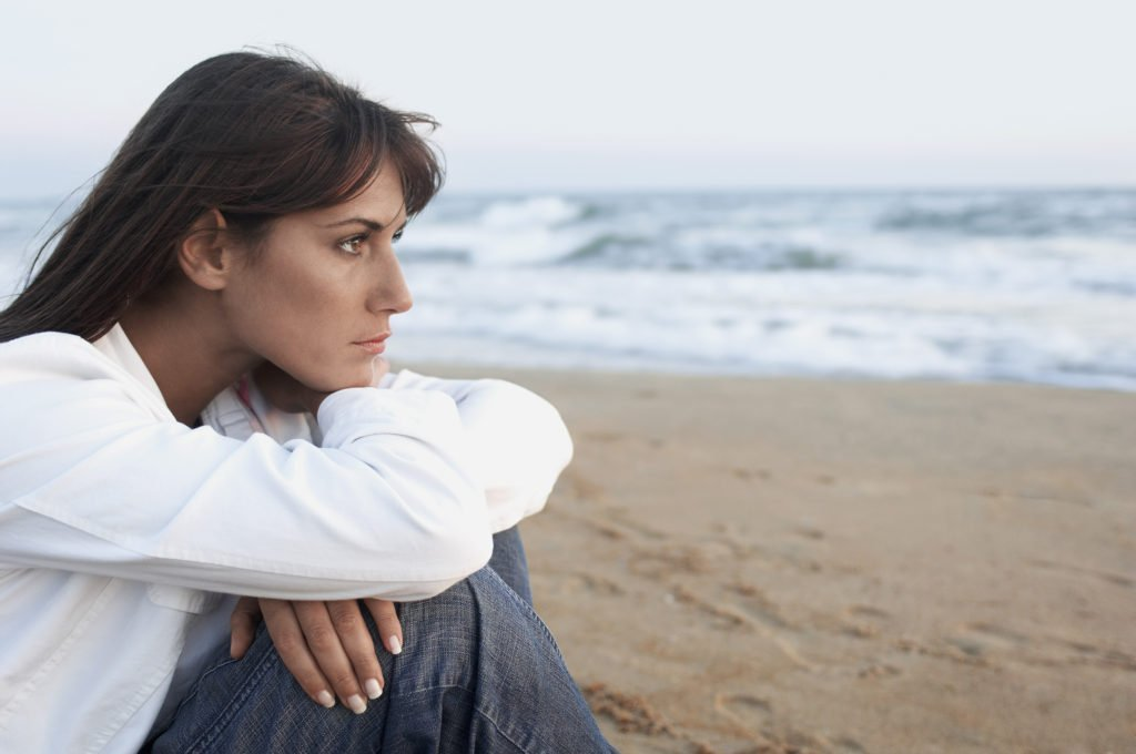 woman on beach,  self care to reduce stress, manage stress with nature, relax on beach to reduce stress, reduce stress after divorce, divorce is stressful, woman surviving after divorce